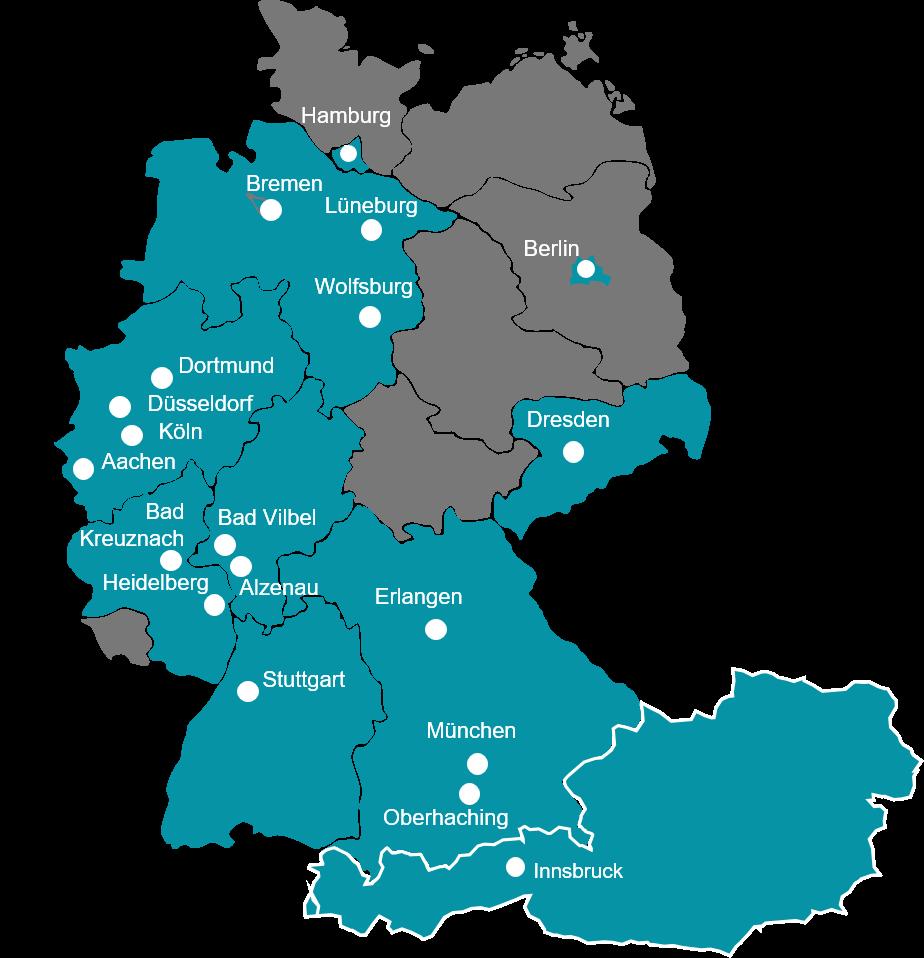 VENTUS-Standorte in Deutschland und Österreich
